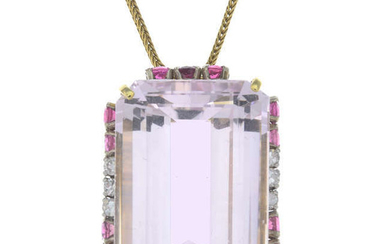 A rectangular-shape morganite, circular-shape pink tourmaline and single-cut diamond pendant, with chain.