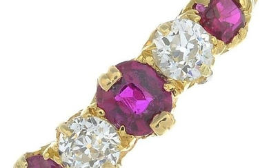 A ruby and diamond five-stone ring.Estimated total