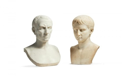 A sculpted white marble bust of Julius Caesar after the Antique, late 19th century