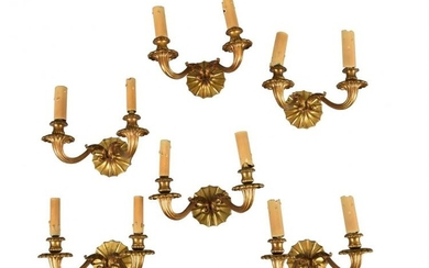 A set of six Continental gilt bronze twin light wall appliques