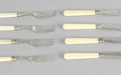 A set of six Victorian ivory-handled silver butter knives and side forks