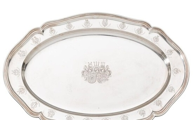 A silver tray with engraved Bismarck coat of arms and of other noble families
