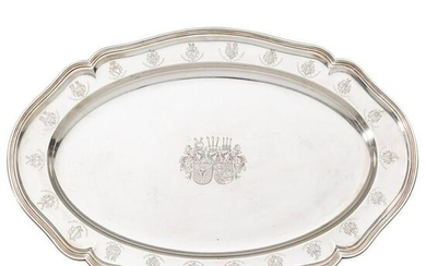 A silver tray with engraved Bismarck coat of arms and