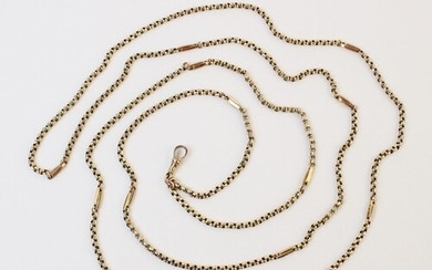 A yellow gold belcher link chain, interspersed with 12 fancy...