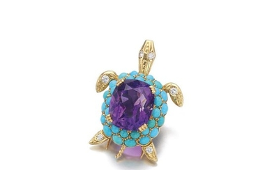 AMETHYST, TURQUOISE AND DIAMOND BROOCH, 'TURTLE', CARTIER