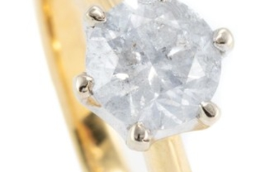 AN 18CT GOLD SOLITAIRE DIAMOND RING; claw set with a round brilliant cut diamond estimated as 0.96ct, P3, size M, wt. 4.04g.