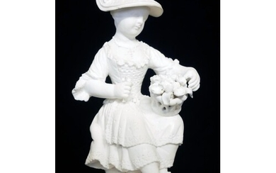 AN 18TH CENTURY DERBY BISCUIT PORCELAIN FIGURE, A SEATED GIR...
