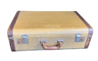 ANTIQUE VICTORIAN EMBOSSED CLASSY SUITCASE LUGGAGE