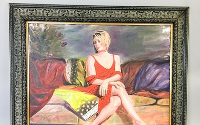 American School, 20th Century Portrait of a Woman in a Red Dress