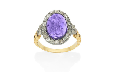 An antique amethyst intaglio and diamond cluster ring