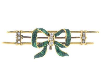 An early 20th century gold gem-set bow brooch.