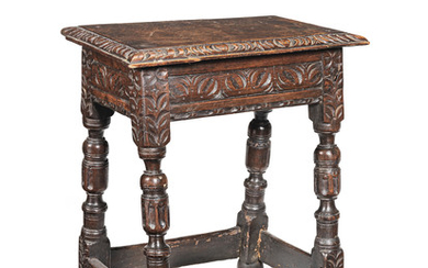 An interesting James I/Charles I gauge-carved oak joint stool, West Country, circa 1620-40