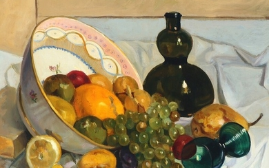 Anna Lundqvist: Still life with grapes, citrus fruits a.o. Signed Anna Lundquist. Oil on panel. 47×51.5 cm.