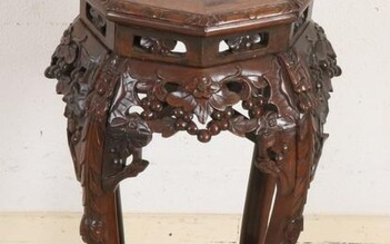 Antique Chinese wood carved hocker with marble top.