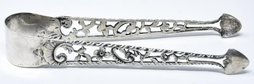 Antique Handmade Pierced Sterling Silver Tongs