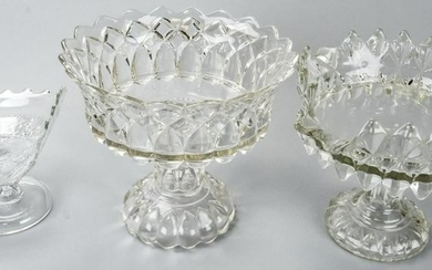 Antique Pressed Clear Glass Compotes