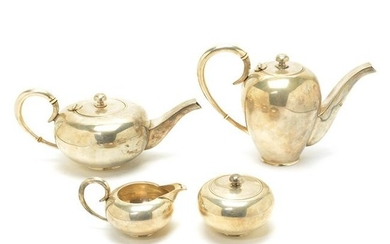 Art Moderne Sterling Silver Four Piece Coffee and Tea