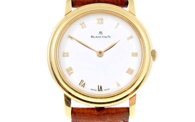BLANCPAIN - a lady's 18ct yellow gold Villeret wrist watch.