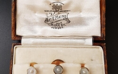 BOXED SET OF MOTHER AND PEARL AND SEED PEARL DECORATED STUDS...