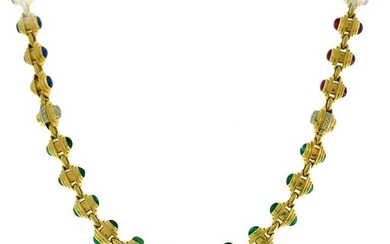 BVLGARI Gold Chain NECKLACE BRACELET Set with Gemstones