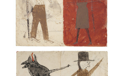 Bill Traylor (circa 1853-1949), Man on White, Woman on Red / Man with Black Dog, double sided, 1939-1942