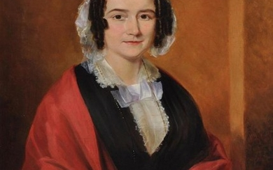British School (19th century), Portrait of a lady seated wearing a red shawl and beaded necklace