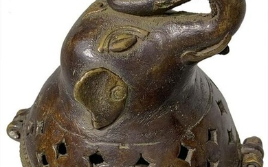 Bronze incense burner, cover with elephant head. India
