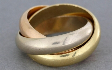 "CARTIER. Trinity"" wedding band three gold rings in three colors. Gross weight : 13,9 g - Finger size : 48."