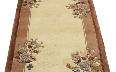 CHINESE SUPER HAND WOVEN WOOL RUG, W 3', L 5'