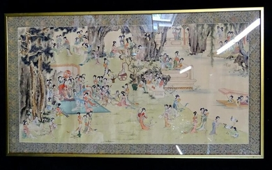 CHINESE WATERCOLOR 100 YOUNG LADIES IN A GARDEN 27X48""