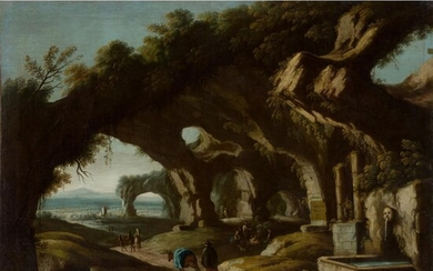 CIRCLE OF SALVATOR ROSA (ITALIAN 1615-1673) ITALIANATE LANDSCAPE WITH FIGURES