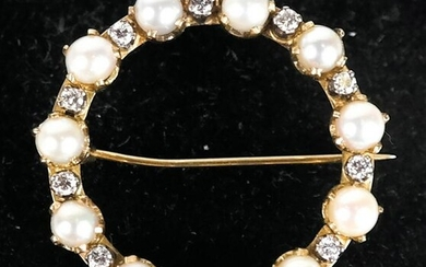 Cartier Pearl and Diamond Brooch