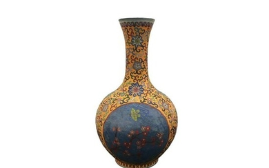 Chinese Cloisonne Flower Vase with Qinglong Mark