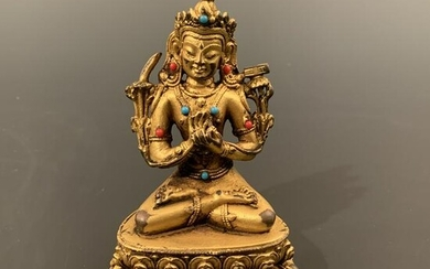 Chinese Gilt Brnze Tara Buddha Figure