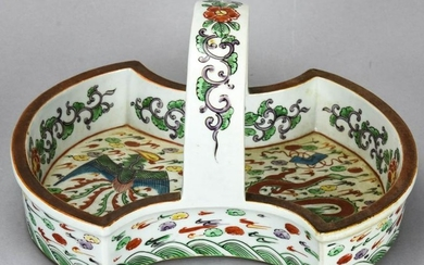 Chinese Hand Painted Porcelain Dragon Basket