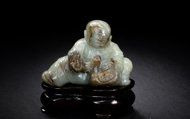 Chinese Jade Carving of Boy and Goose, Ming