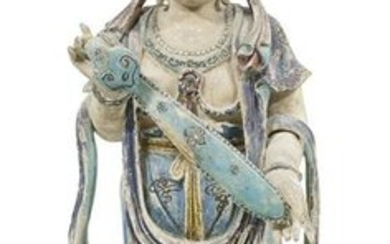 Chinese Polychromed Wood Figure of Guanyin