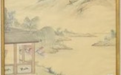 Chinese painting on silk, 20th (180 x 50cm)...