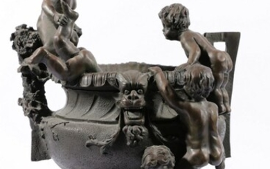 Classical Style Bronze Urn Decorated With Five Clambering Putti H: 45cm