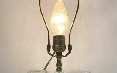 DAUM France Crystal Table Lamp. Deep cut in frosted des