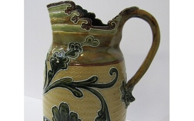 """DOULTON STONEWARE, 9"""" jug decorated with tubelined foliate d..."""