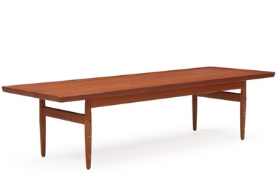Danish furniture design: Coffee table of teak with raised edge. H. 44 cm. L. 175 cm. W. 60 cm.