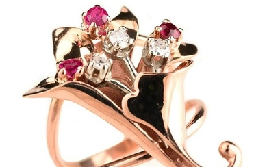 Diamond, Synthetic Ruby, 14k Rose Gold Ring.