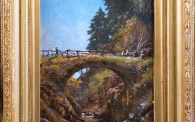 """ELLIOTT DAINGERFIELD (United States, 1859-1932) """"Landscape with bridge"""" Oil on canvas. Signed and dated in the lower left corner. Measurements: 61 x 40 cm. Exit: 6000uros. (998.316 Ptas.)"""