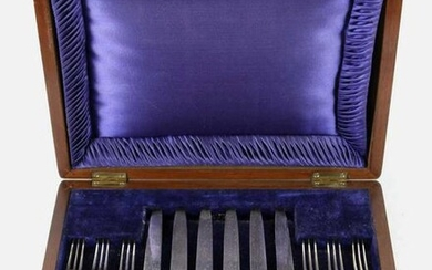 ENGLISH ANTIQUE STERLING SILVER MOP CASED SET
