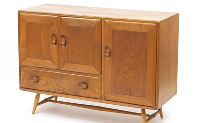 Ercol Windsor light elm sideboard fitted with three