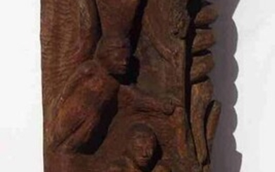 Exceptional Wood Carving of Adam and Eve in Garden