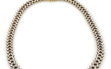 Fancy Circular Diamond Link Necklace in 18K Yellow Gold