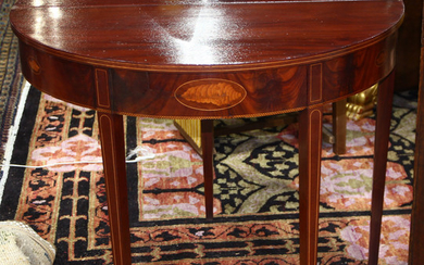 Federal style marquetry decorated card table