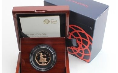 """Fifty Pence 2019 """"Shape of a Revolution"""" Gold Proof FDC boxe..."""